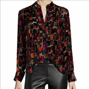 Alice + Olivia Velvet / Silk Tile Blouse